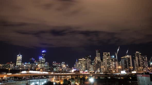 Thumbnail for Timelapse - Melbourne City at Night