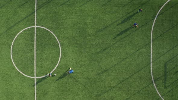 Thumbnail for Drone View of Skillful Soccer Forward Scoring Goal