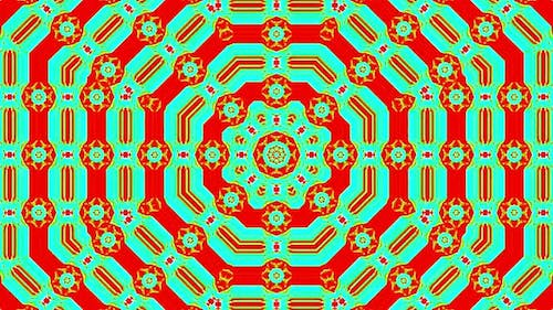 shining bright lines set the vibration of colorful waves, flower shape, on red and green background
