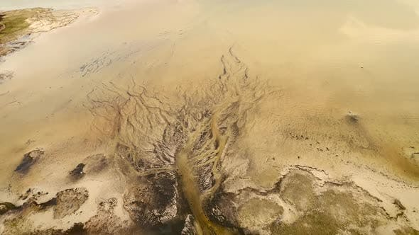 Thumbnail for Abstract aerial view of algae bloom in sea on the island of Vormsi in Estonia.