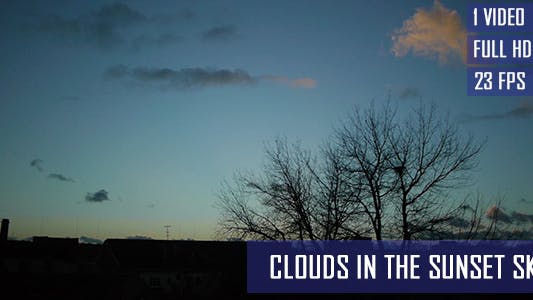 Thumbnail for Moving Clouds In The Sunset Sky