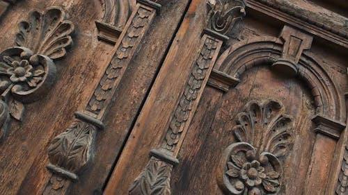 Old Wooden Door of a Beautiful Ancient Building. Wood Texture Doors