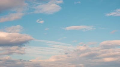 Time Lapse with Fast Moving Clouds on Blue Sky