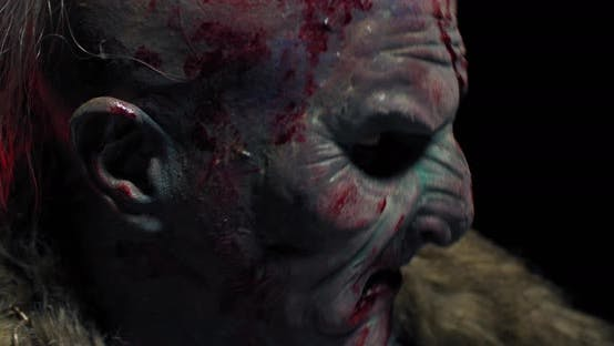 Close Up of a Scary Orc with Bloody Face, Profile Shot, Realistic Fantasy,