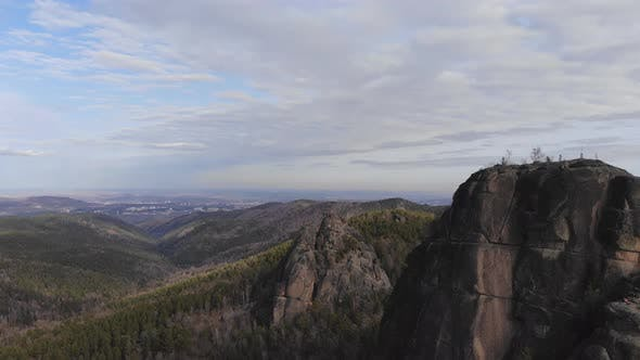 Aerial Shot of Rocks and Forest in the Siberian Natural Park Stolby