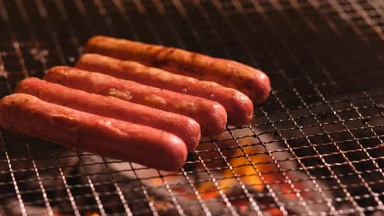Thumbnail for Sausages grilling, Barbecue time
