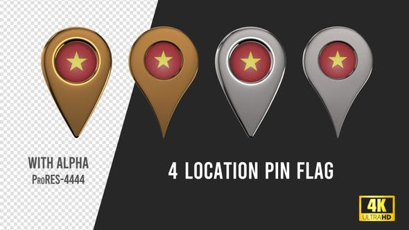 Vietnam Flag Location Pins Silver And Gold