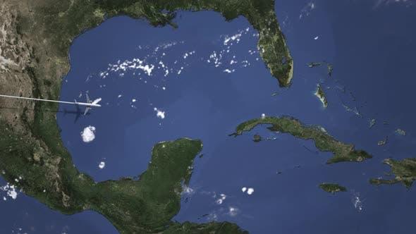 Plane Arriving To Havana Cuba