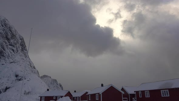 Winter Clouds Thicken over Norwegian Houses
