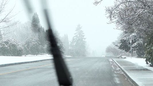 Thumbnail for Snowy Road - 03 - Windshield With Moving Wipers