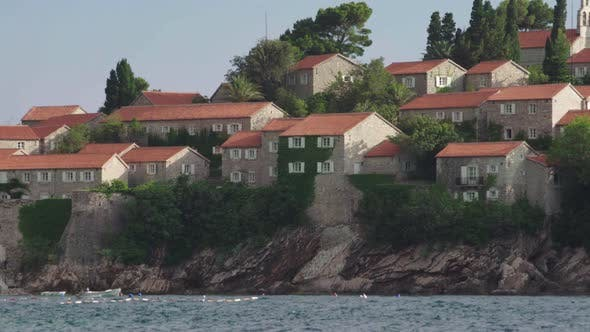 Thumbnail for Houses with Red Tiled Roofs. Architecture of Sveti Stefan. Montenegro.