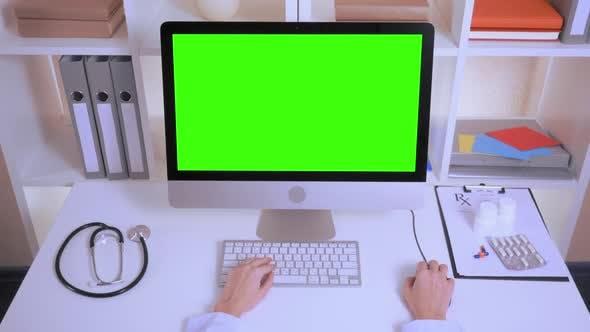 Thumbnail for Details Hands Nurse Entering Data on Laptop