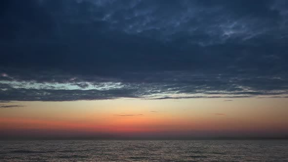 Cloudy Sky Before Sunrise on The Sea