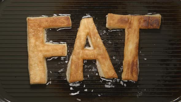 Thumbnail for FAT letters fry in oil on a grill