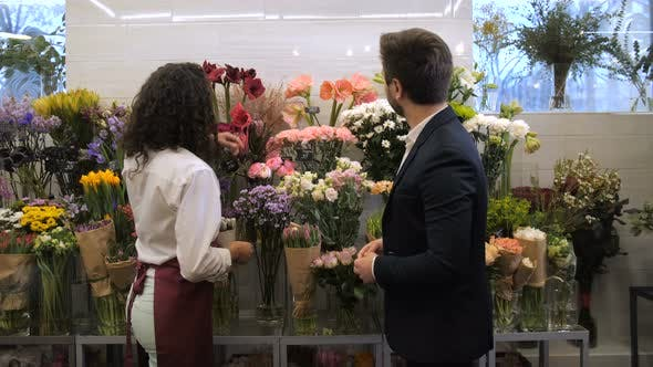 Thumbnail for Florist Selecting Flowers for Bouquet with Client