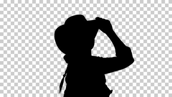 Silhouette cowgirl dancing, Alpha Channel