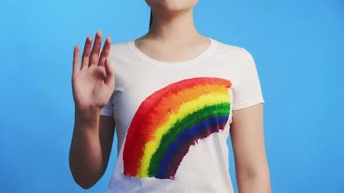 Lgbt Invitation Woman in Rainbow Tshirt Welcome