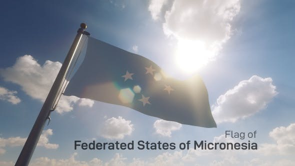 Thumbnail for Micronesia Flag on a Flagpole V2