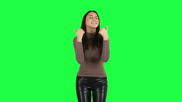 Cover Image for Attractive Girl Showing Thumbs Up, Gesture Like. Green Screen