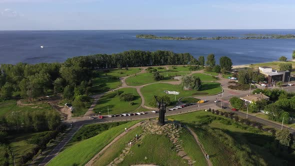 Thumbnail for The Cherkasy City Beautiful Aerial view of the Dnieper River