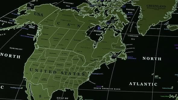 Thumbnail for Usa, Canada On The Physical Map Of The World