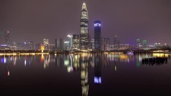 Thumbnail for Timelapse Flashing Skyscraper in Shenzhen Nanshan District
