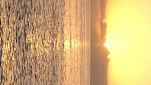 Beautiful Seascape Sun Over the Sea Near the Shore