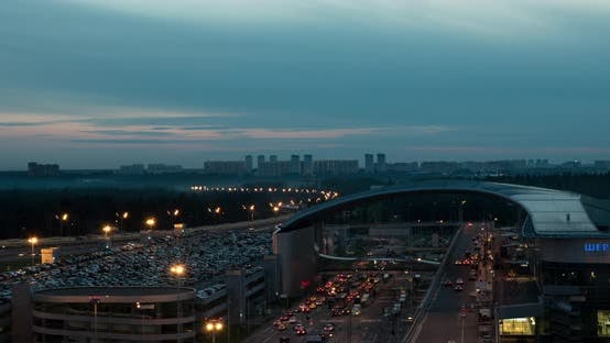 Thumbnail for Timelapse of Night City with Busy Roads Near Sheremetyevo Airport, Moscow