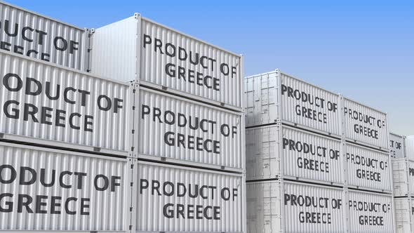 Thumbnail for Containers with PRODUCT OF GREECE Text