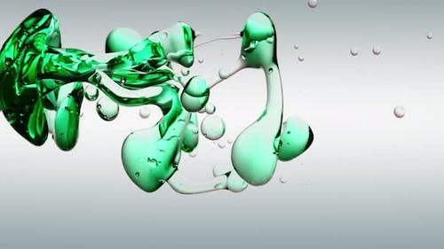Transparent Cosmetic Green Oil Bubbles and Shapes on White Background