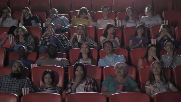 Diverse Moviegoers Watching Horror in Cinema Hall