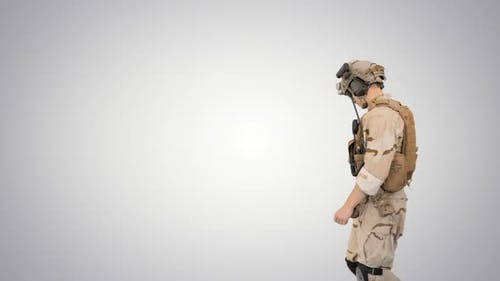 US Army Rangers Walking By on Gradient Background