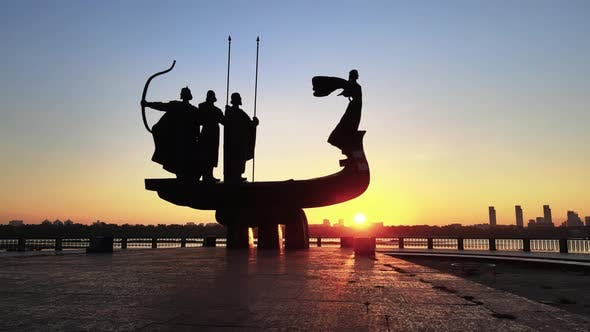 Thumbnail for Kyiv, Ukraine - a Monument To the Founders of the City in the Morning at Dawn