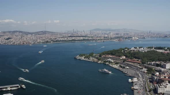 Thumbnail for Istanbul Bosphorus Boats And Golden Horn Bridge Aerial View