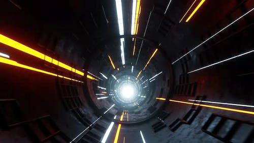 Abstract Sci-fi Hyperloop Tunnel