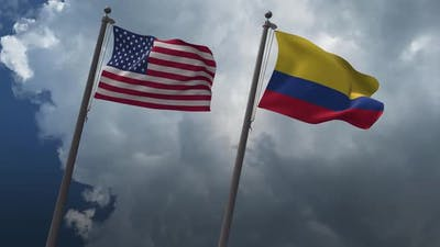 Waving Flags Of The United States And The Colombia 2K