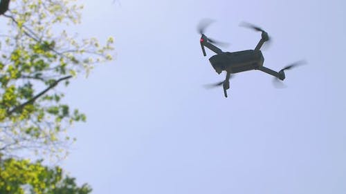 Drone Hovers In The Sky