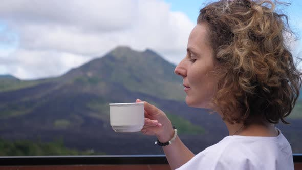 Inspirational Image of Hipster Female Enjoying Her Coffee