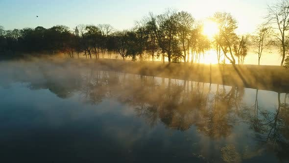 Thumbnail for Foggy Sunrise Over Park Alley By the Lake
