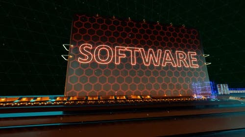 Computer Software System Information and Update Words on Digital Futuristic Circuit Board