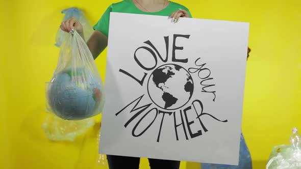 Thumbnail for Unrecognizable Woman with Protesting Poster and Earth Globe in Plastic Package. Ecology Pollution