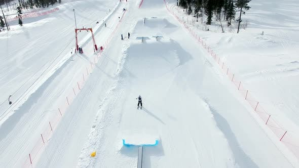 Flying on Top of Ski Resort Base