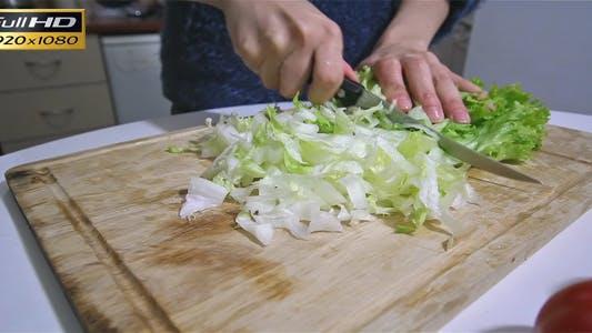 Cutting A Lettuce