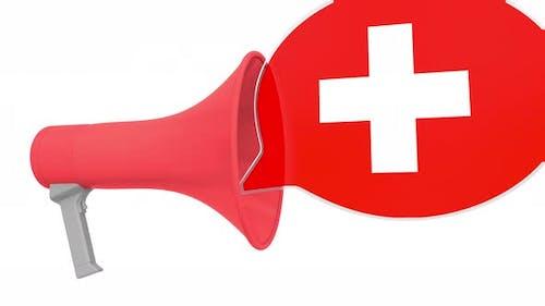 Loudspeaker and Flag of Switzerland on the Speech Balloon