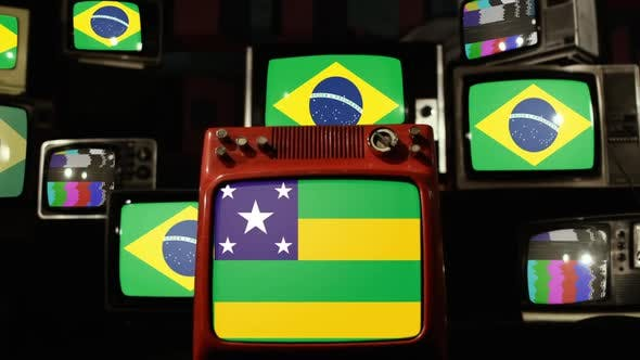 Flag of the Brazilian State of Sergipe and Flags of Brazil on Retro TVs.