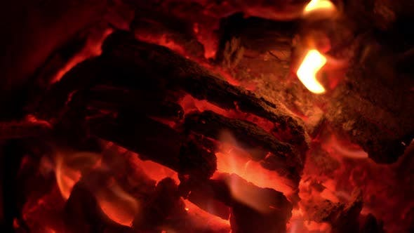 Close Up Of Red Fire Wood Flames 1