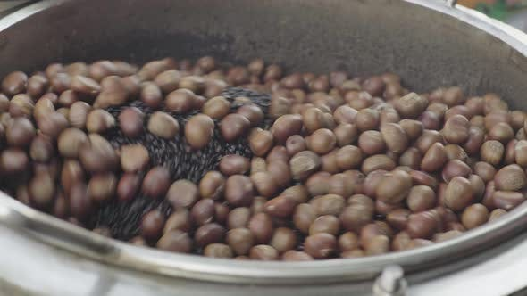 Roasted Chestnuts in the Market. Phnom Penh, Cambodia, Asia