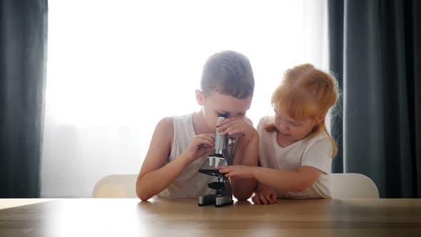 Child Baby Caucasian Little Boy Scientist Biologist Researcher Working with Microscope and Show It