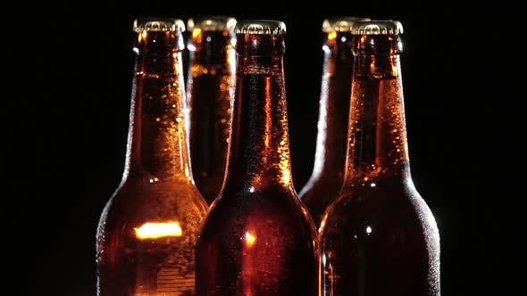 Thumbnail for Cold Bottles of Beer on Black Background