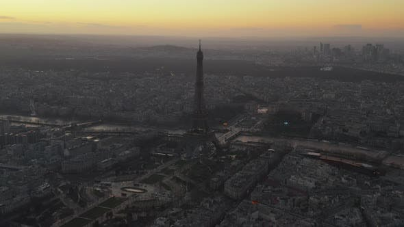 Thumbnail for AERIAL: Reverse Drone Flight From Eiffel Tower, Tour Eiffel in Paris, France with View on Seine